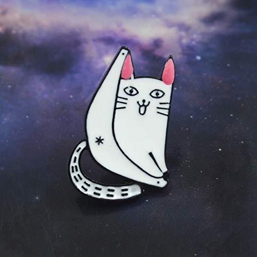 QISKAII Lazy White Cat Brosche Rosa Ohren Lächeln Gabel Beine Sexy Cat Dew Ass Niedliche Emaille Pin Denim Rucksack Hut Tier Abzeichen Familie Haustier Geschenk