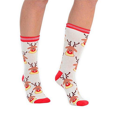 Festive Feet Damen Neuheit Weihnachten Socken Größe 4–8EU 37–42Weihnachts rentier