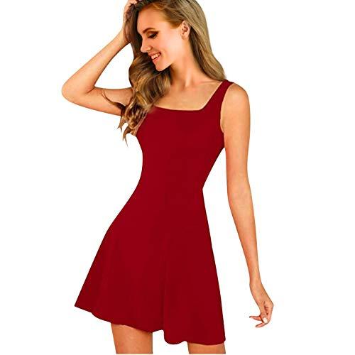 Lalaluka Sommerkleide Damen Cocktailkleider KnielangSexy Einfarbig Korsett Spaghetti A-Liniekleid Abendkleid TailliertesKleid Trägerkleid