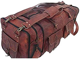 TUZECH Handmade Vintage Travel Luggage 30 Inch Duffel Gym Sports Bag
