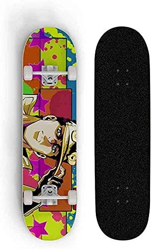 Skateboard para Anime JoJo's Bizarre Adventure, Monopatín 31 Pulgadas 8 Pulgadas Estudiante Femenino Scooter Adulto Niños Profesional Tablero Doble Tilt Patinaje Patineta