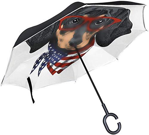 Divertido perro Dachshund Bandera americana A prueba de viento Mango en forma de C A prueba de viento A prueba de rayos UV Viaje al aire libre Sol Coche Paraguas reversible