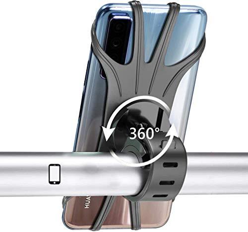 ZOESON Handyhalterung Fahrrad, Silikon Verstellbarer Fahrradhalterung für Smartphones mit der Bildschirmgröße von 4.5-6.0 Zoll, Einfach Montage, Ideal für Mountainbike, Rennrad, Motorrad (black2)