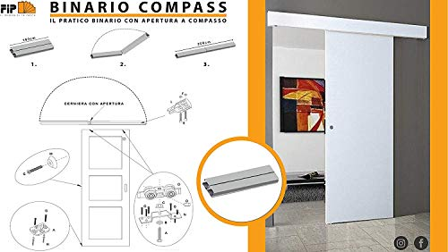 Riel kit para puerta corredera 200 cm carga 120 kg COMPASS