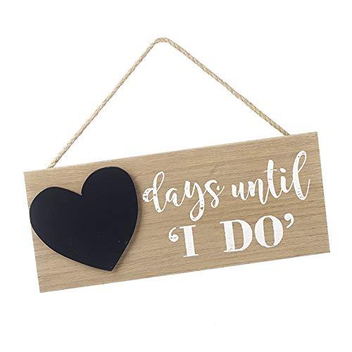 """Heaven Sends - Cartello per Conto alla rovescia con Scritta in Lingua Inglese """"Days Until I Do"""", in Legno Rustico con Lavagna a Gesso – The for a Bride or Husband to Be"""