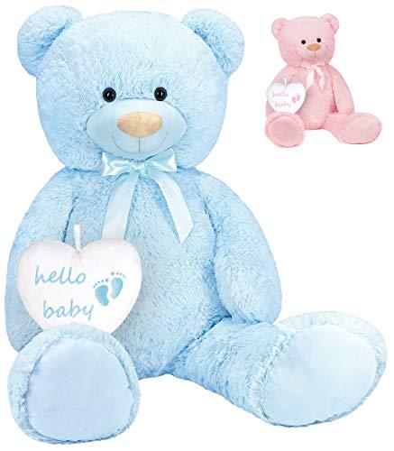 BRUBAKER - Peluche a forma di orsacchiotto con cuore, 100 cm (100 cm), per neonate, colore: Azzurro