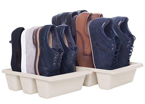 Schuh-Ablage SCHUBIDO, 3-in-1, jeweils für 3 Paar Schuhe - Schuh-Aufbewahrung - Schuh-Stapler - Schuh-Halter, 32 x 24 x 9,5 cm, 2er-Set in Creme, sorgt platzsparend für Sauberkeit und Ordnung