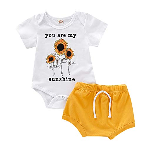 Fossen Ropa Bebe Niña Verano 2019-2PC/Conjuntos - Girasol Monos Manga Corta + Pantalones Cortos - para Recien Nacido 0 a 2 años
