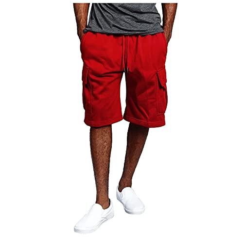 2021 Pantalones de deporte para hombre, pantalones cargo para correr, modernos pantalones de verano, informales, con cordón, ideal como regalo para familia y amigos con bolsillos, rojo, XL