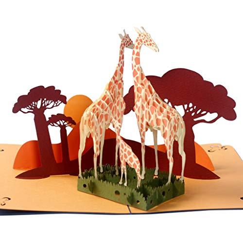 CUTEPOPUP Father's Day pop up Card, Birthday Card Giraffe, Pop Up Cards New Baby with GIRAFFE FAMILY Design- Give Daddy, Grandpa, Giraffe-loving on Mother's Day Birthday or Any Father Anniversary