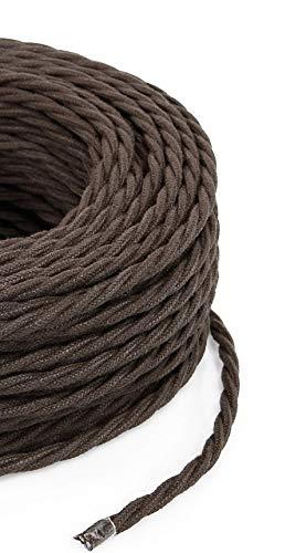 Cable eléctrico trenzado/trenzado revestido de tela. Color marrón algodón. Sección 2 x...