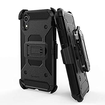 Luvvitt iPhone XR Case and Holster Heavy Duty Armor Shockproof Rugged Protection Cover with Swivel Rotating Belt Clip and Kickstand for Apple iPhone XR  2018  10R 6.1 inch Screen - Black