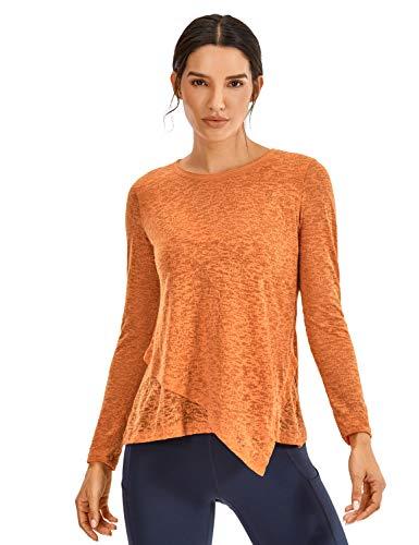 CRZ YOGA - Camisetas de manga larga para mujer, estilo informal, de algodón, amarillo (Primrose Yellow), S