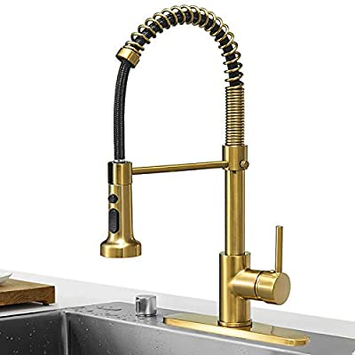 Hoimpro Brushed Gold High Arc Spring Kitchen Faucet with Pull Down Sprayer, Commercial Rv Single Lever Kitchen Sink Faucet ,3 Function Single Handle Laundry Faucet, Brass / Brushed Brass (1 or 3 Hole)