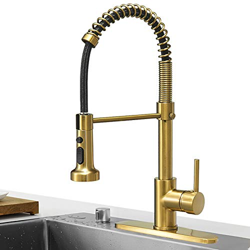 Hoimpro Brushed Gold High Arc Spring Kitchen Faucet with Pull Down Sprayer, Commercial Rv Single Lever Kitchen Sink Faucet ,3 Function Single Handle Laundry Faucet, Brass / Brushed Gold (1 or 3 Hole)