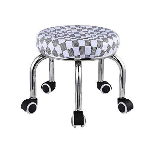 QFdd Châssis en Acier Rotation à 360 °Cuir Petit Banc Rond avec 5 Roues, Table Debout Tabourets Bas pour Bambin Adulte Grille Grise