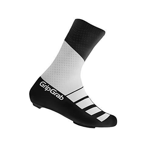 GripGrab RaceAero TT Profi Rennrad Lycra Überschuhe für Zeitfahren-Sommer Radsport Aero Überzieher/Gamaschen-Damen, Herren Fahrrad, Weiß/Schwarz, L (44-47)