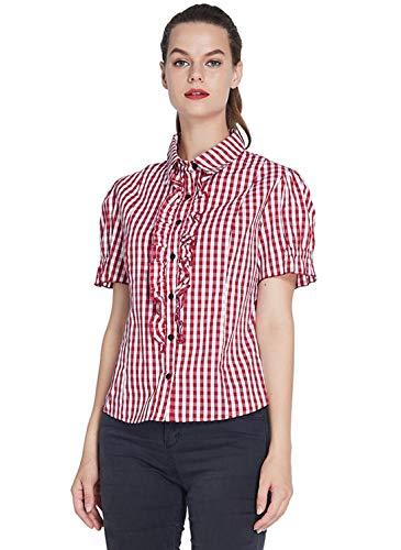 uideazone Damen Festlich Elegant Blusen Sommer Bluse Sexy Hemd V-Ausschnitt Shirts