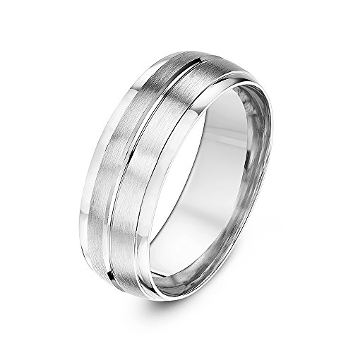 Theia 9 ct White Gold, Heavy Court Shape, Matt Finish with Polished Edges and Groove, 7 mm Wedding Ring - Size Z+4