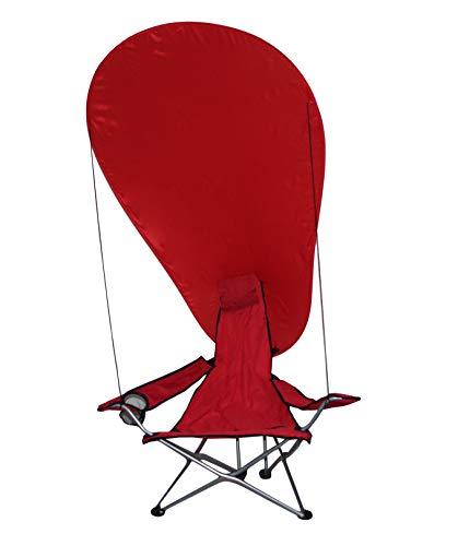 takestop® Sedia Sdraio Pieghevole Mare Campeggio Poltrona con Parasole Tenda OMBREGGIANTE Struttura Alluminio Rosso per Spiaggia Giardino Ombrello BRACCIOLI Porta Bicchiere Sacca Portatile Leggera