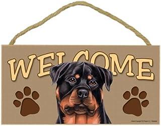 "SJT ENTERPRISES, INC. Rottweiler Welcome Sign 5"" x 10"" MDF Wood Plaque (SJT61559)"