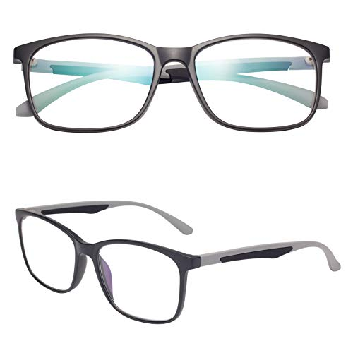 老眼鏡 ブルーライトカット 軽い おしゃれ メンズ レディース ケース付き ウェリントン グレー 度数+3.00 TR2303