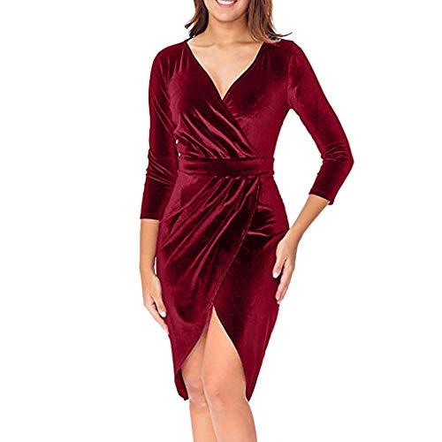 Longra Primavera e Autunno Vestito da Donna V-Collo Abito a Maniche Lunghe Velluto Elegante Abito da Sera Wrap Front Maxi Dress Chic Abiti da Cocktail