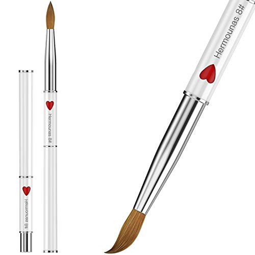 100% Kolinsky Acrylic Nail Brush, Hermounas Nail Brushes for Acrylic Powder Size # 8, 10, 12, 14, 16 Round Professional Nail Art Brush for Acrylic Application (Size 8)