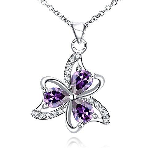 Blumen-Geschenk mit Zirkonia Violett Kristall-Silber Halskette Anhänger Schmuck lns667