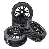 Faderr 4 neumáticos de goma para coche RC 1/8 todoterreno (4 unidades), color negro