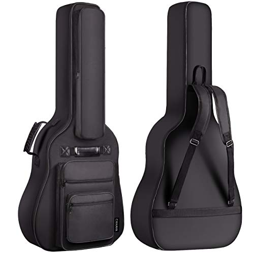 CAHAYA 40 41 42 Inch Multi-pockets Acoustic Guitar Bag 6 Pockets 0.3 Inch Thick Padding Waterproof Guitar Case Gig Bag
