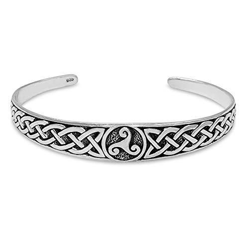 81stgeneration Women's Oxidised .925 Sterling Silver Celtic Knot Triskelion Adjustable Bangle