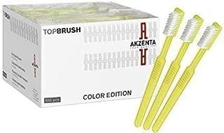 Akzenta - Cepillo de dientes desechable con pasta de dientes (100 unidades, varios colores) - amarillo,