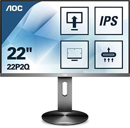 AOC 22P2Q 54 cm (21,5 Zoll) Monitor (DVI, HDMI, DisplayPort, USB Hub, 4ms Reaktionszeit, 1920x1080, 75 Hz, Pivot) schwarz