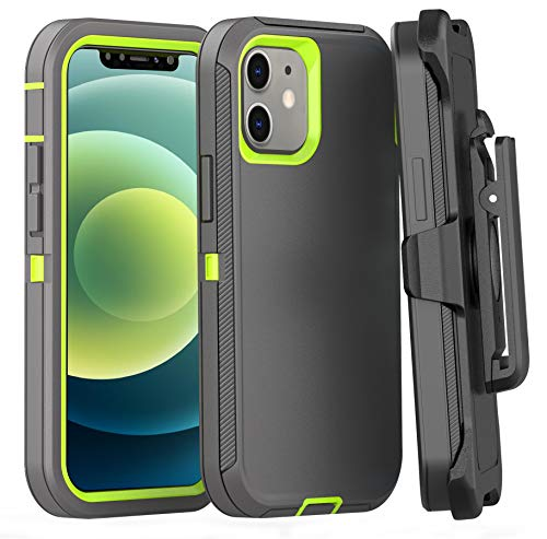 FOGEEK Case Compatible with iPhone 12 Mini, Heavy Duty Rugged Case, Belt Clip Holster Kickstand Protective Cover [Shockproof] Compatible with iPhone 12 Mini 2020 [5.4 inch] (Dark Grey/Green)