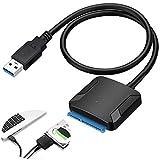Lionina Adaptateur USB 3.0 vers SATA, Super Speed USB 3.0 vers SATA Disque Convertisseur Cable Adapter pour 2.5' 3.5' SSD/HDD Drives,Adaptateur de Disque Dur Externe, Adaptateur Secteur(Noir)