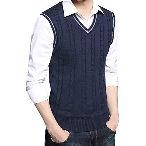 Crystallly Heren Style Cotton V Neck Pullover Soft Knitted Knitwear eenvoudige stijl Jumper Vest Waistcoat Gilet Christmas Thanksgiving Gift