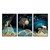 HTLLT リビングルーム装飾絵画ライト高級絵画モダンなミニマリストソファ背景壁トリプチチぶら下がっている写真,A,60 * 80