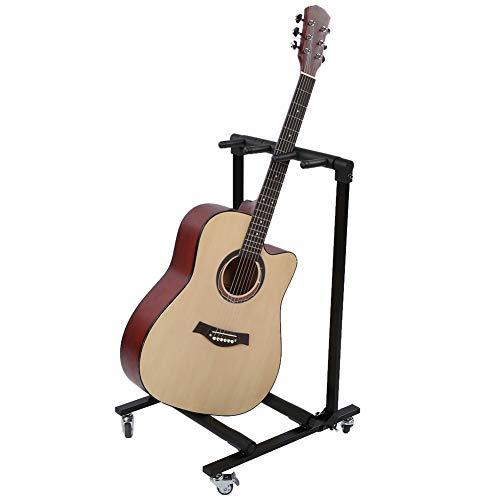 Soporte de guitarra múltiple, estante de exhibición de bajo de guitarra eléctrica universal plegable Con protección de espuma de esponja y ruedas giratorias para el escenario o el hogar(FL-13L)