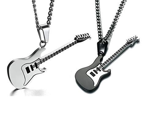 LiFashion LF Männer Frauen Edelstahl Gitarre Charme Halskette Musikinstrument R & B E-Gitarre Anhänger Rock Hip Hop Straßenmusik Schmuck für Musiker Tänzer Geschenk