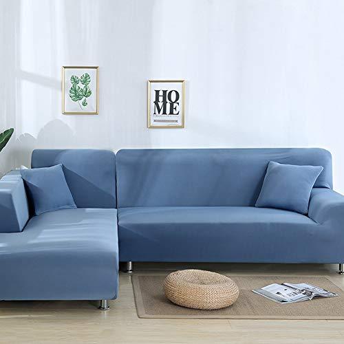 NGMZ Funda de sofá Sofá esquinero Funda Protectora Fundas de Muebles elásticas Color elástico para Sala de Estar, Azul, 1 Asiento