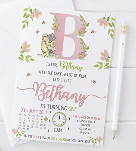 10 Personalised Winnie The Pooh Kids Boy Girl 1st First Birthday Party Invitations Invites