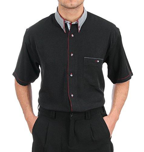 Designerhemd in Schwarz, für Herren Beste QUALITÄT, HK Mandel Freizeithemd Kurzarm Normal Nicht Tailliert, 2047 Grösse M