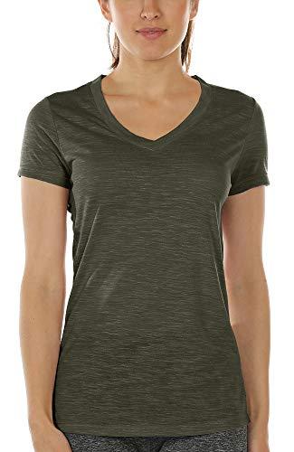 icyzone Camiseta deportiva para mujer con cuello en V, manga corta, para entrenamiento, fitness, ropa deportiva militar XL