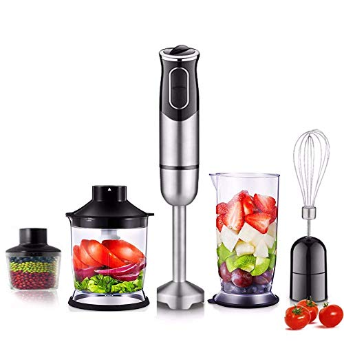 Immersion blender 4 in 1-600 W Blender for personal blender for home kitchen Stick mixer for food processor BPA-free plastic whisk and cup Black (JJ-07052) - Warranty 3 years 5 in 1