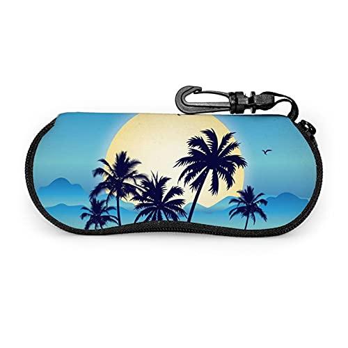 Funda para gafas con mosquetón, ultra ligera, portátil, antiarañazos, suave, a prueba de polvo, con cremallera de neopreno, bolsa de manga para gafas de sol, playa, playa, sol, árbol de coco, luna
