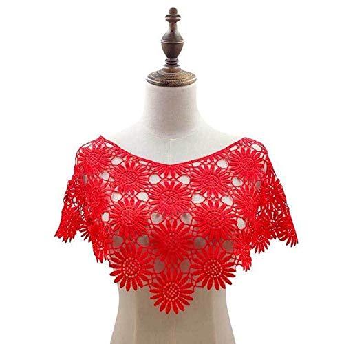 DACCU Elegante 3D geborduurde kant hals kraag kant applicatie bloemenmotief sjaal jurk garnituren naaien versieren kleding decoratie, rood