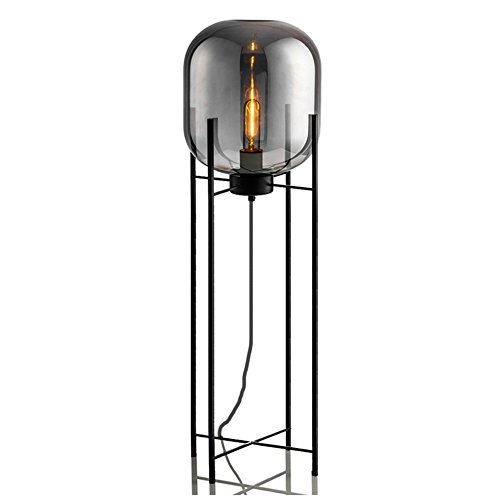 Joeyhome Post moderne weiße Glas Stehlampe Kunst milchig Tisch Licht Mode Design Bernstein grau Glas einfach nordischen Stil Schmiedeeisen Halter, Rauch grau, H 73cm