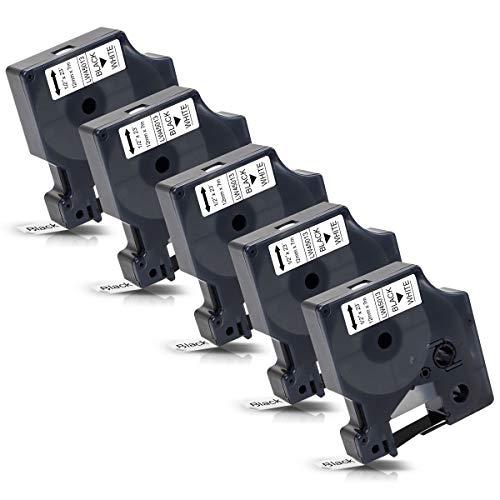 5x Labelwell 12mm 1/2 Kompatibel Schriftband Ersatz für DYMO 45013 45013s S0720530 Schwarz auf Weiß für Dymo LabelManager 160 210D 360D 280 420P 500TS Labelpoint 250 150 100 Labelwriter 450 Duo Turbo