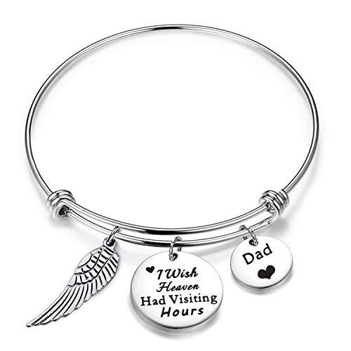 Zuo Bao - Pulsera Conmemorativa en Memoria de papá, Recuerdo de la condolencia, Regalo con Mensaje en inglés «I Wish Heaven Had Visiting Hours Bracelet Loss Jewelry Mom Dad Memorial»